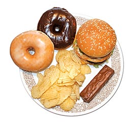 Bad food choices: Doughnuts, potato chips, candy bar and hamburger
