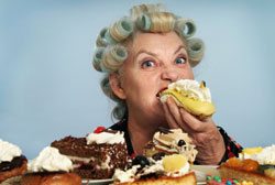 menopausal woman eating junk food