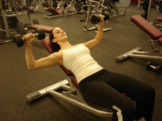 Incline dumbbell bench -- second position