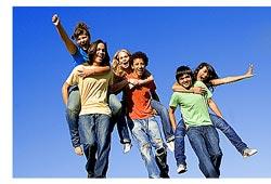 six enthusiastic teenagers