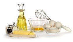 Oil and eggs ready for cooking