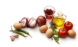 eggs, vegetables and oi