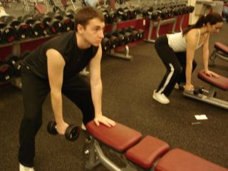 Dumbbell rows -- starting position