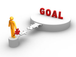 graphic of person solving puzzle of reaching goal