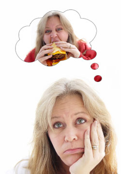woman dreaming about food